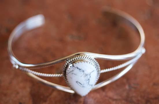 Navajo Silver Howlite Bracelet by Patrick Yazzie