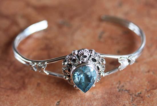 Navajo Silver Aquamarine Bracelet