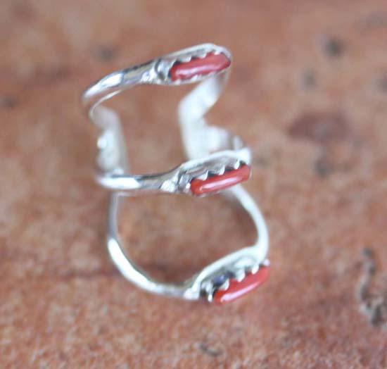 Navajo Silver Coral Ear Cuff