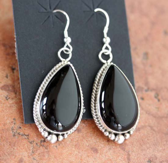 Navajo Silver Onyx Earrings