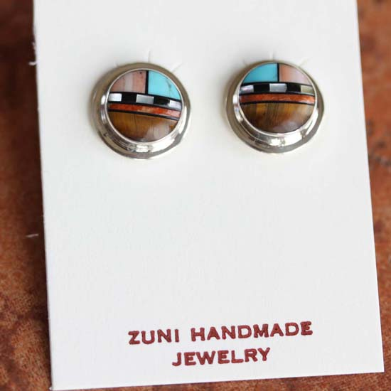 Zuni Sterling Silver Multi_Stone Earrings