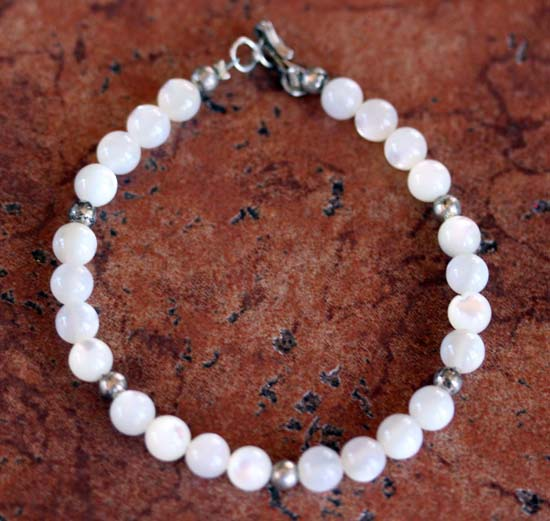Navajo Beaded Mother of Pearl Bracelet