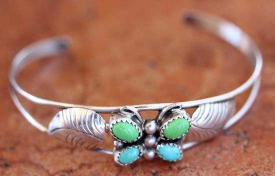Navajo Silver Multi_Stone Butterfly Bracelet