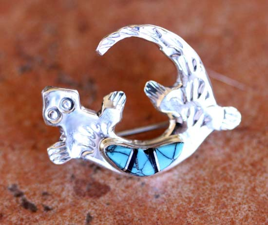 Zuni Sterling Silver Multi_Stone Lizard Pin