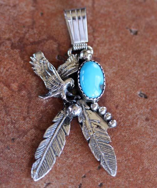 Navajo Turquoise 3D Eagle Pendant