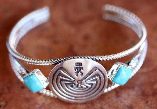 Navajo Sterling Turquoise Man in the Maze Bracelet