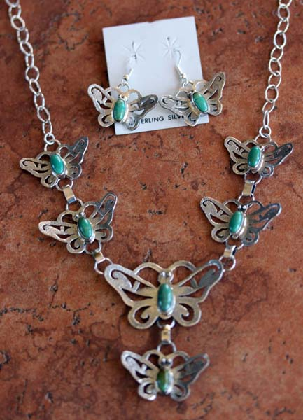 Navajo Turquoise Butterfly Necklace Earrings Set