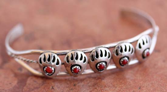 Navajo Sterling Silver Coral Bear Paw Bracelet