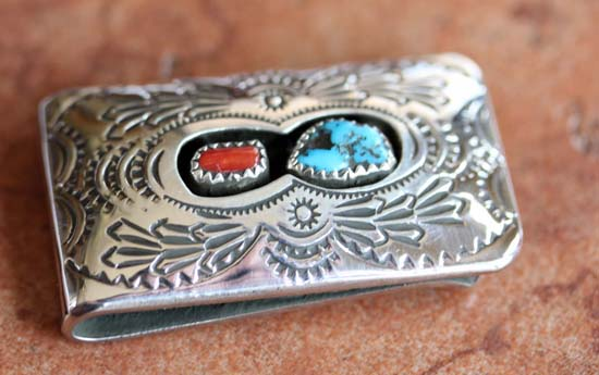 Navajo Coral Turquoise Money Clip