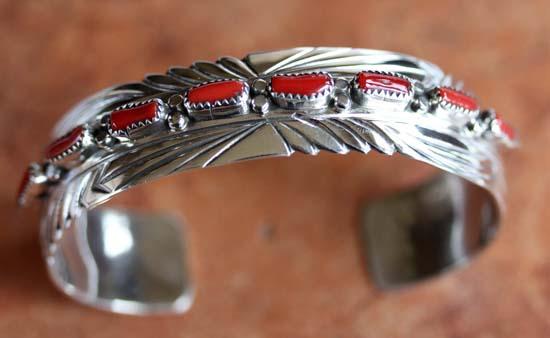 Navajo Sterling Silver Coral Bracelet