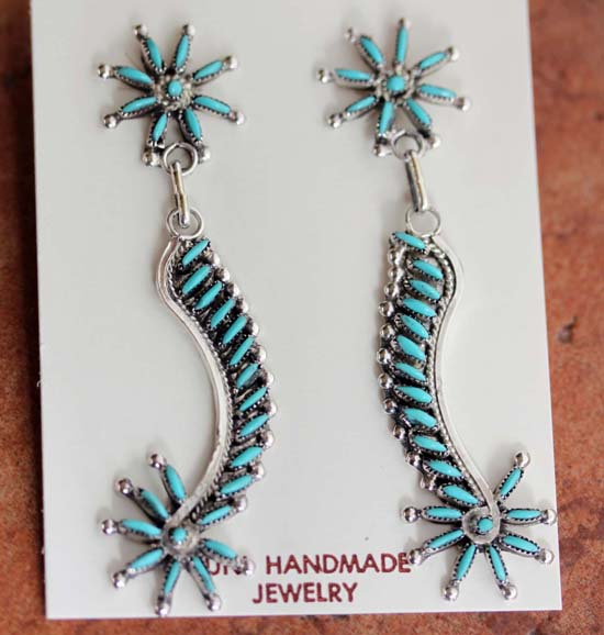Zuni Silver Turquoise Earrings