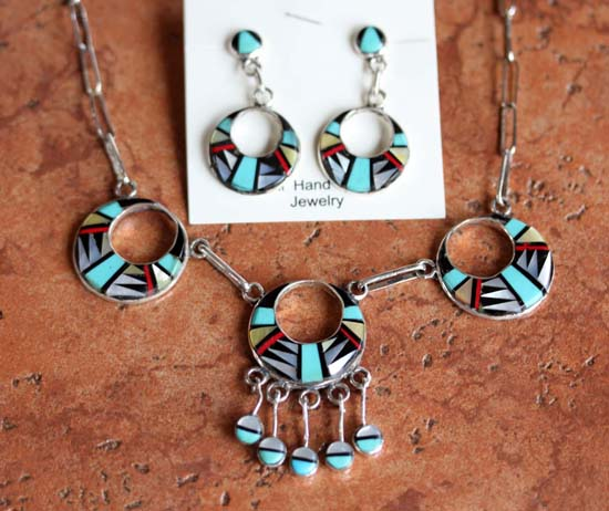 Zuni Multi_Stone Necklace/Earrings