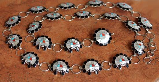 Zuni Sterling Silver Sunface Concho Belt