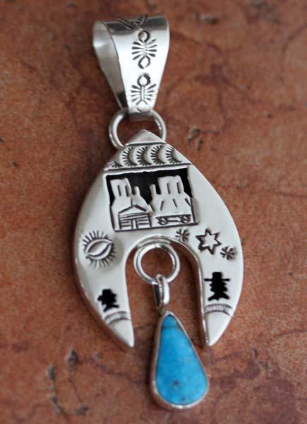 Navajo Silver Turquoise Storyteller Pendant