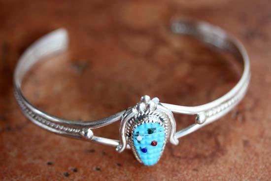 Zuni Silver Turquoise Corn Husk Bracelet