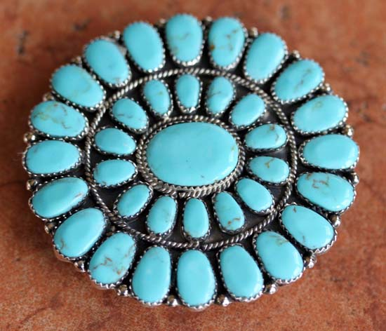 Navajo Silver Turquoise Cluster Belt Buckle