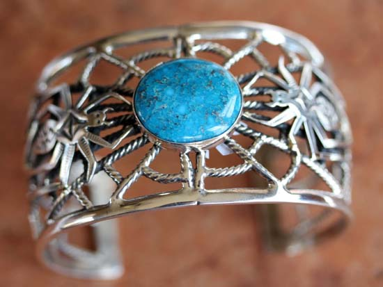 Navajo Silver Turquoise Spider Bracelet