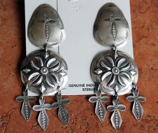 Navajo Large Sterling Silver Earrings