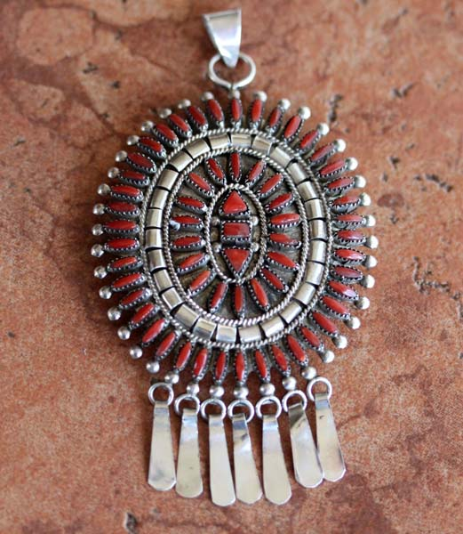 Zuni Sterling Silver Coral Cluster Pendant/Pin