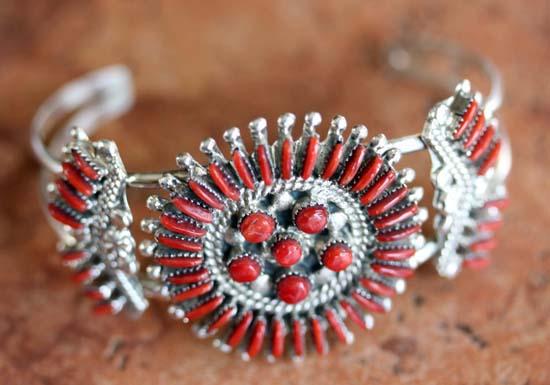 Zuni Silver Coral Cluster Bracelet