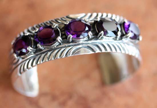 Navajo Silver Amethyst Bracelet