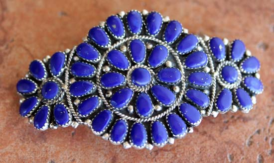 Navajo Lapis Cluster Barrette by J Williams