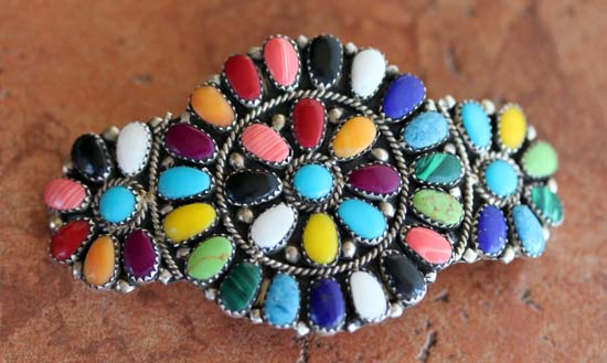 Navajo Multi_Stone Cluster Barrette by J Williams