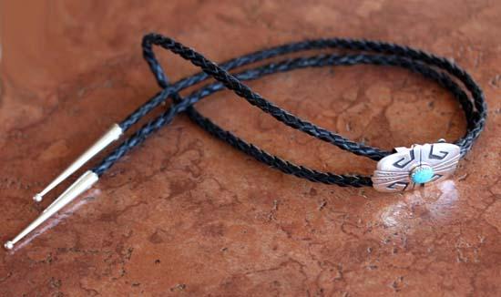 Navajo Silver Turquoise Bolo Tie