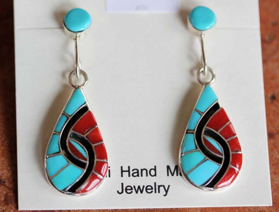 Zuni Sterling Silver Turquoise Coral Earrings