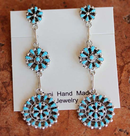 Zuni Sterling Silver Turquoise Cluster Earrings