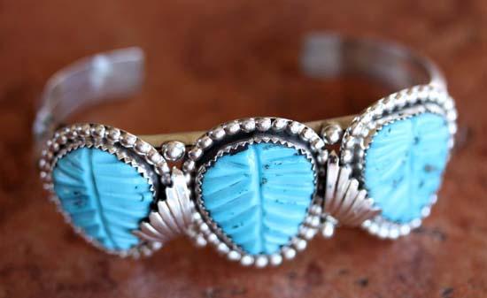Zuni Sterling Turquoise Leaf Bracelet