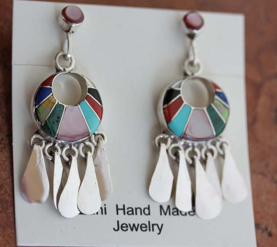 Zuni Silver Multi_Stone inlay Earrings