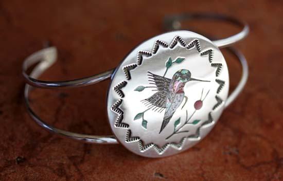 Navajo Sterling Multi_Stone Hummingbird Bracelet