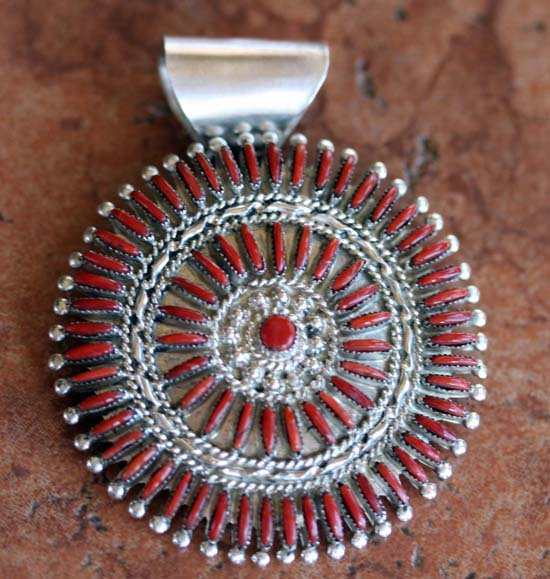 Zuni Sterling Silver Coral Cluster Pendant