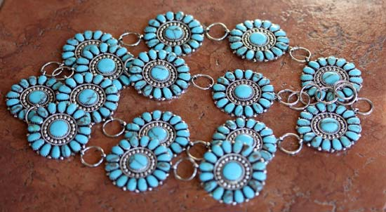 Navajo Sterling Silver Turquoise Cluster Concho Link Belt