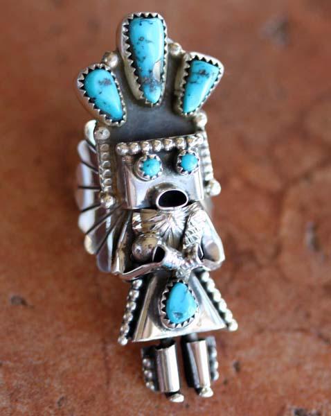 Navajo Silver Turquoise Kachina Ring Size 7 1/2