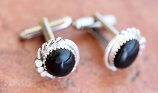 Navajo Silver Onyx Cuff Links by S Cadman