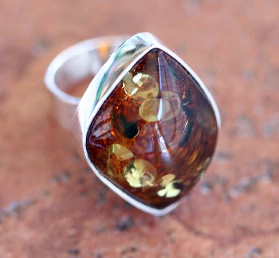 Sterling Silver Baltic Amber Ring Size 6 1/2