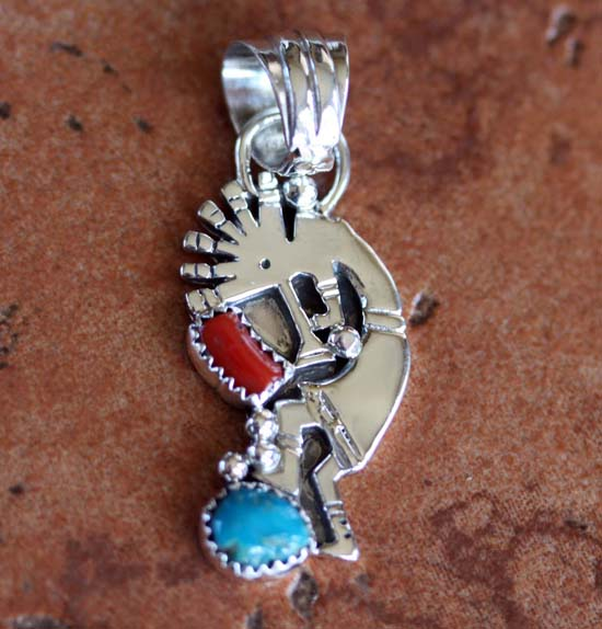 Navajo Coral and Turquoise Kokopelli Pendant