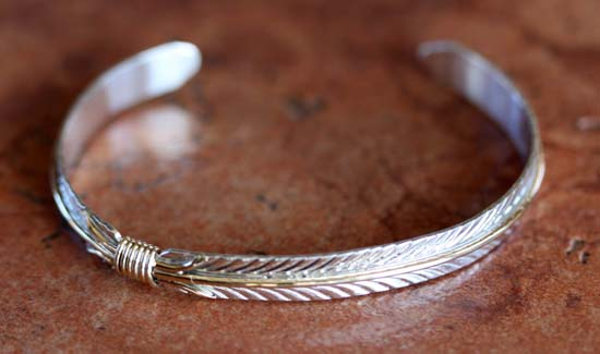 Navajo Sterling Silver Feather Bracelet