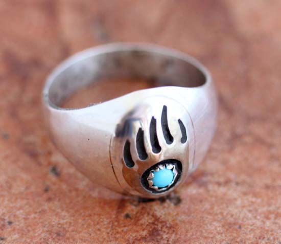 Navajo Silver Turquoise Bear Paw Ring Size 10 1/2