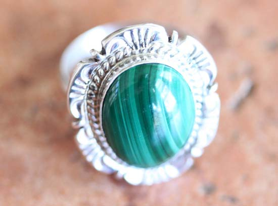 Navajo Silver Malachite Ring Size 6 1/2