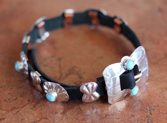 Navajo Silver Leather Concho Style Bracelet