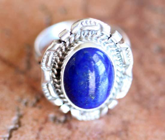 Navajo Silver Lapis Ring Size 6 1/2