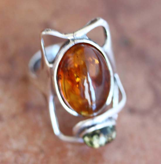 Sterling Silver Baltic Amber Ring Size 7