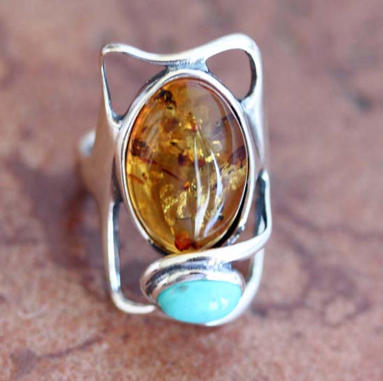 Sterling Silver Baltic Amber Turquoise Ring Size 5