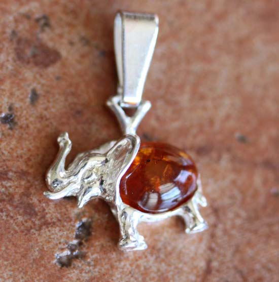 Sterling Silver Baltic Amber Elephant Pendant