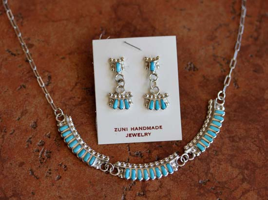 Zuni Turquoise Necklace and Earrings Set