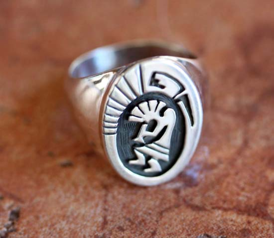 Hopi Silver Kokopelli Ring Size 9 1/2