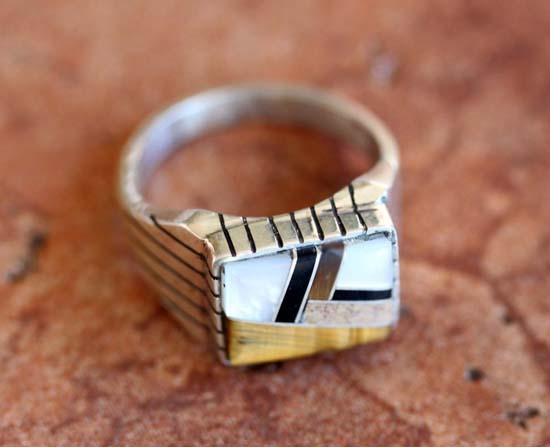 Navajo Silver Multi_Stone Ring Size 11 1/2
